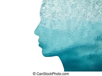 dubbele blootstelling, vrouw, profiel, met, water