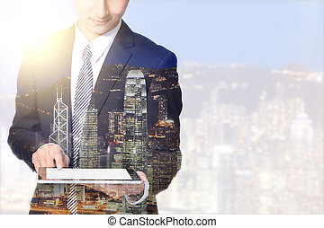 dubbele blootstelling, zakenmens , en, stad