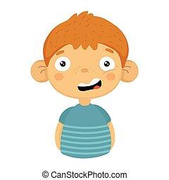 dubbioso, sorridente, carino, piccolo, ragazzo, con, grande, orecchie, in, t-shirt blu, emoji, ritratto, di, uno, bambino maschio, con, emotivo, espressione facciale