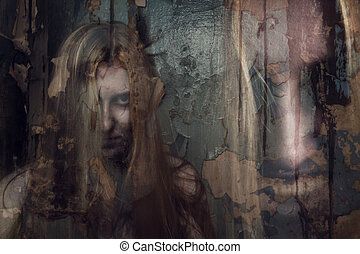 dubbla uppenbarande, av, spöke, flicka, in, uppgiven...