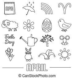 duben, měsíc, námět, dát, o, jednoduchý, nárys, ikona, eps10