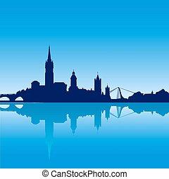 dublín, perfil de ciudad, silueta, vector, ilustración