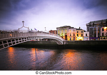 Dublin Bridge - Vintage toned image of historic Ha'penny...