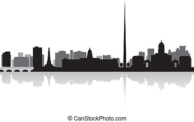 Dublin city skyline vector silhouette
