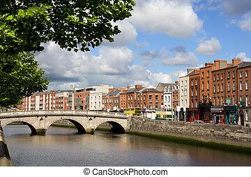 Dublin Cityscape - Scenic city of Dublin with an old Mellows...