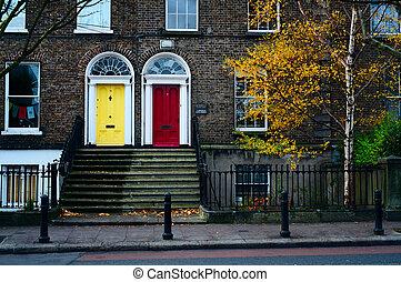 Dublin doors. Ireland - Traditional house facade in Dublin....