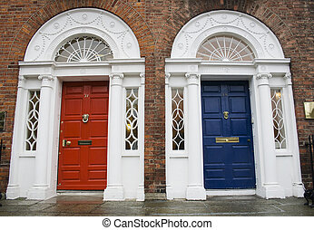 Dublin Georgian doors - Dublin red and blue doors in...