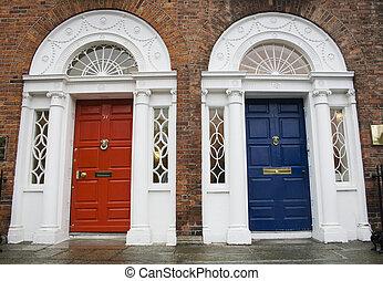 Dublin Georgian doors - Dublin red and blue doors in...
