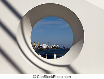Dublin Harbor Through Circle - A view of ships in at the...