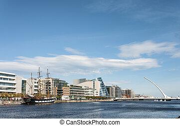 Dublin, Ireland - Aug 1, 2015: The Samuel Beckett Bridge...