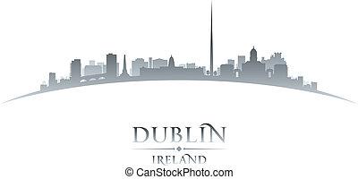 Dublin Ireland city skyline silhouette white background -...