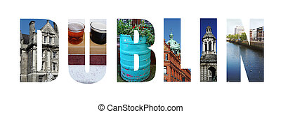 Dublin Ireland collage on white