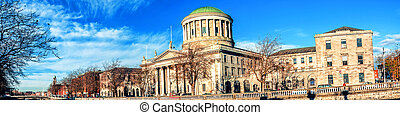 Four courts building in Dublin, Ireland with river Liffey