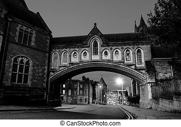Illuminated Arch of the Christ Church Cathedral in Dublin, Ireland