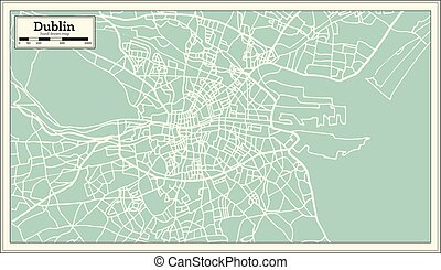 Dublin Ireland Map in Retro Style. Vector Illustration....