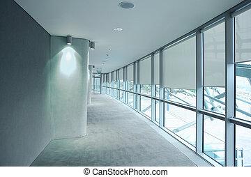 DUBLIN - JUNE 10: Long gray hallway in an stadium Aviva on...
