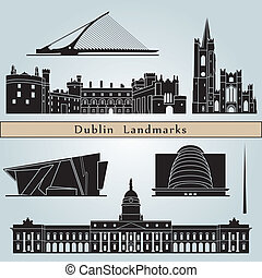 Dublin landmarks and monuments isolated on blue background in editable vector file