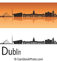 Dublin skyline in orange background in editable vector file