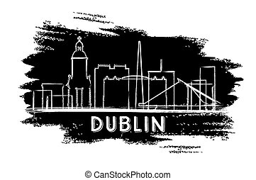 Dublin Skyline Silhouette. Hand Drawn Sketch.