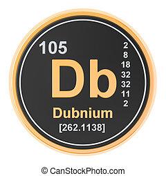dubnium, db, 化学物質, element., 3d, レンダリング