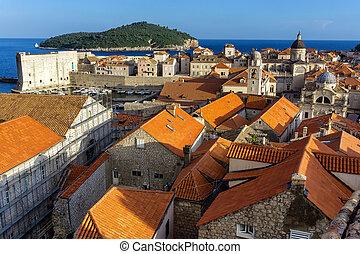 dubrovnik, 部分, 古い, 壁, croatia, 都市, 歴史的