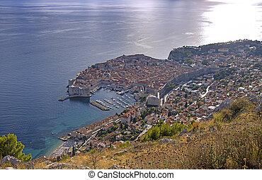 dubrovnik, aeria, 歴史的, 光景, croatia, 町, 古い
