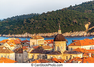 Golden hour view of the cathedral in Dubrovnik, Croatia