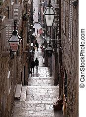 dubrovnik, chorvatsko, ulice, město, jádro, dávný, omezený