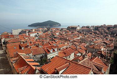 dubrovnik, croatia, 古い, 光景, 都市