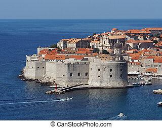 Dubrovnik, Croatia, august 2013, medieval city and harbor