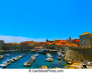 Dubrovnik, Croatia -View on the fortress and marina in old town