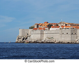 Dubrovnik fortified old town seen from the sea