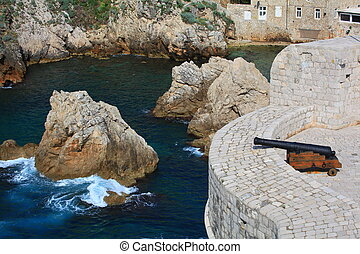 dubrovnik fortress wall - fortress wall with canon