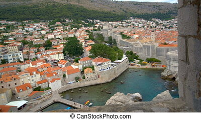 dubrovnik, mur, historique, croatia., ville, vieux
