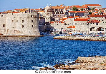 Dubrovnik Old City on the Adriatic Sea in Croatia, South Dalmatia region, HDR technique