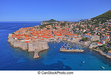 Dubrovnik old town aerial view