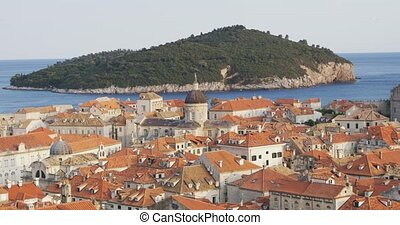 Dubrovnik old town and island Lokrum - View of the island...
