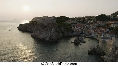 Dubrovnik old town - fortress Lovrijenac at sunset -...