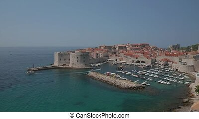 Dubrovnik old town harbor panorama drone shot - Aerial drone...