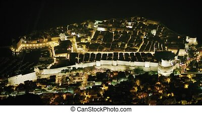 Dubrovnik old town panorama at night from hill Srd