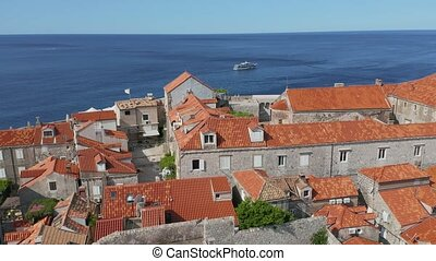 Dubrovnik old town panorama drone shot - Aerial drone ...