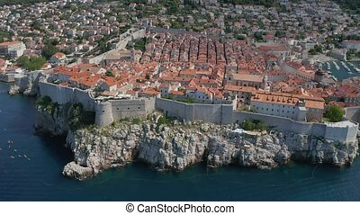 Dubrovnik old town south panorama drone shot - Aerial drone ...