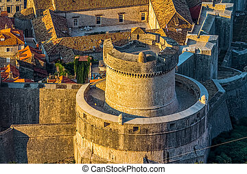 Dubrovnik old town - Early morning sunrise - panorama with...