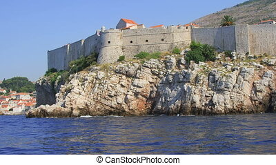 Dubrovnik old town walls detail, Croatia. Shoot form a boat...