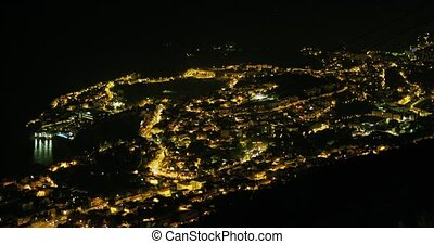 Dubrovnik panorama at night from hill Srd