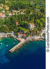 Dubrovnik riviera - Arboretum Trsteno - Helicopter aerial...