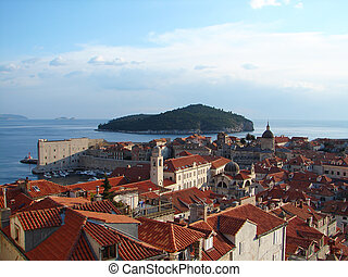 Sight on Dubrovnik center from city wall