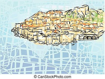 dubrovnik. abstract city on multicolor abstract background