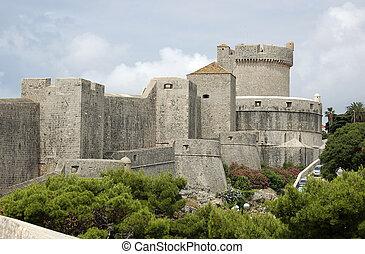 Dubrovnik walls - City walls and tower in Dubrovnik Croatia
