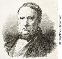 Duc Gaston Francoise Cristophe de Levis old engraved portrait. Created by Chenu, published on L'Illustration, Journal Universel, Paris, 1863